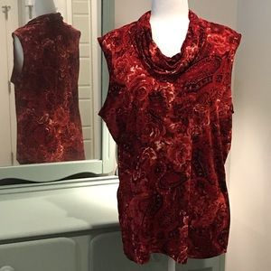 Slinky red floral cowl neck tank 2x